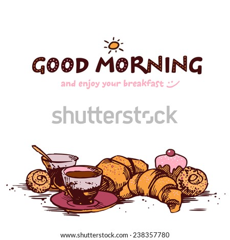 hand-sketched illustration of fresh and tasty breakfast - coffee, croissant, baking, orange. - stock vector