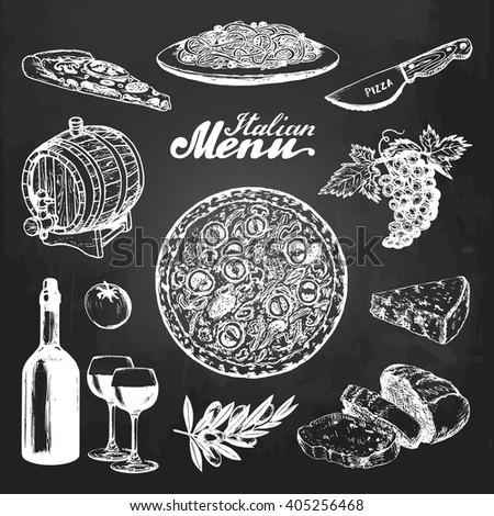 Hand sketched italian menu. Mediterranean cuisine. Vector hand drawn food sketches. Chalkboard background. Italian pizza, pasta, wine, cheese, bread, olive, grape, spaghetti. For restaurant, cafe, bar - stock vector