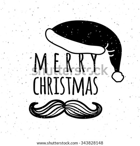 Hand sketched Merry Christmas logotype, badge and icon typography. Hand drawn lettering of Merry Christmas for Christmas/New Year greeting card template. Merry Christmas banner, flyer - stock vector