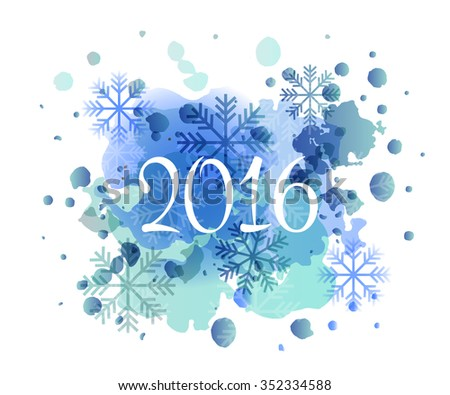 Hand sketched 2016 New Year watercolor logotype, badge and icon typography. Hand drawn lettering of 2016 for New 2016 Year greeting card template. Happy New 2016 Year banner, flyer - stock vector