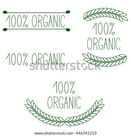Set Eco Bio Natural Labels Retro Stock Vector 142096507