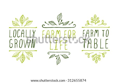 Hand-sketched typographic elements. Farm product labels. Suitable for ads, signboards, packaging and identity and web designs. Locally grown. Farm for life. Farm to table. - stock vector