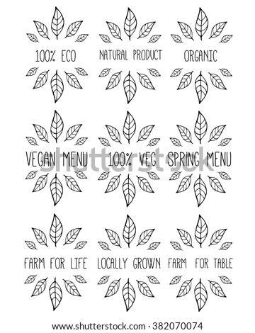 Stock Vector Vector Trendy Hand Drawn Beauty Organic Cosmetics Florist Photography Wedding Logos Badges Emblems Logotypes Big Collection Of Elegant Plant Floral Logos