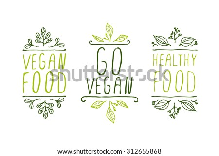 Hand-sketched typographic elements. Vegan product labels. Suitable for ads, signboards, packaging and identity and web designs. Vegan food, go vegan, healthy food - stock vector