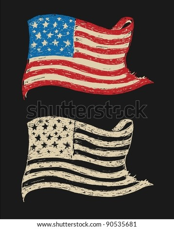 Hand Sketched Vintage Vector Flags - stock vector