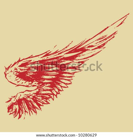 Hand-Sketched Wing - stock vector