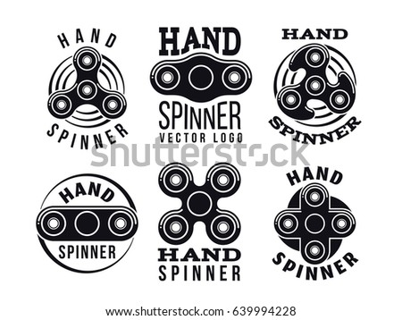 Hand spinner vector logo and labels. Fidget spinners emblems