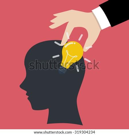 Hand stealing idea light bulb from head. Idea concept - stock vector