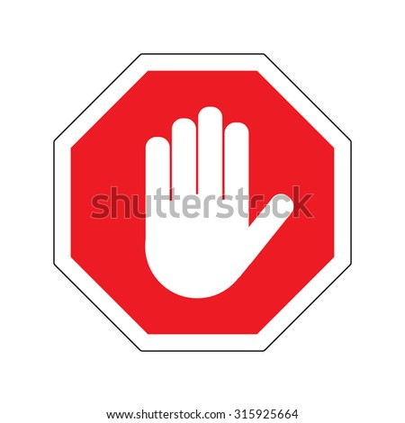 Hand STOP sign on white background vector