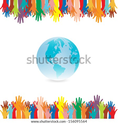 Hand  style save the Earth   idea. (environment concept) - stock vector