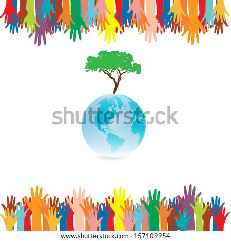 Hand  style save the Earth tree idea. (environment concept) - stock vector