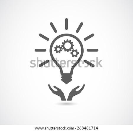 hand support light bulb gear cogs wheel teamwork - stock vector