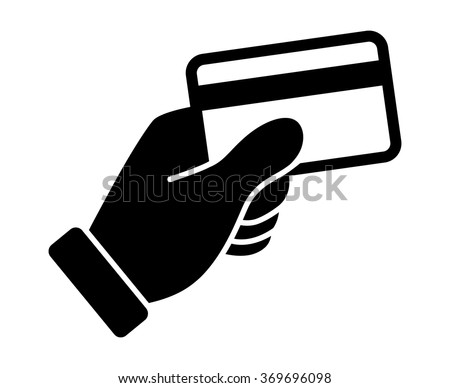 Hand swipe credit card during purchase flat icon for apps and websites - stock vector