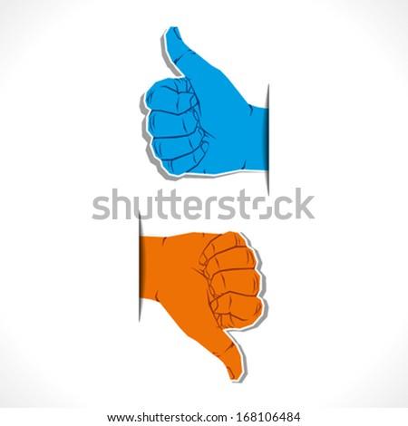 hand symbol like or unlike , thumb up or thumb down vector - stock vector