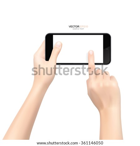 Hand taking camera from mobile smart phone with white background. Vector illustration.