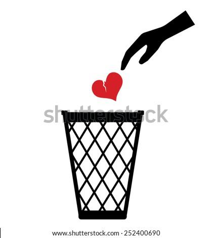 Hand throwing Broken Heart Lost Love away trash can toss - Vector - Sign - stock vector