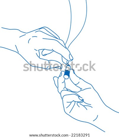 Hand to hand - stock vector
