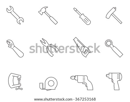 Hand tool icons in outlines. Construction building - stock vector
