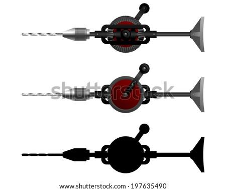 Hand Tools. Carpenter tool - hand drill. Vector illustration.  - stock vector
