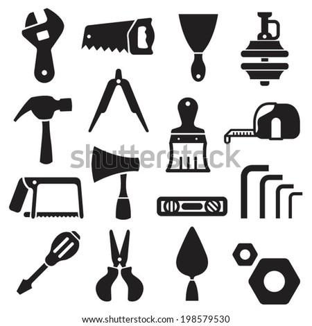 Hand Tools Equipment Icon Black - stock vector