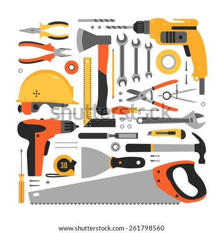 Hand tools for work. Vector set. - stock vector