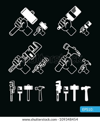 Hand tools icon set vector - stock vector