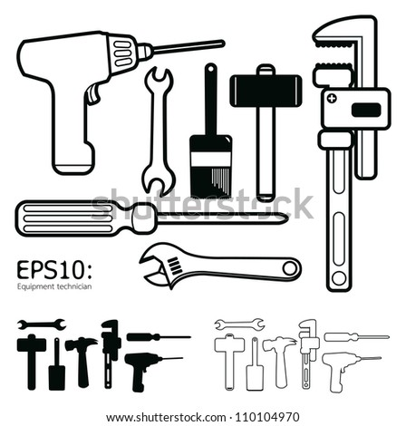 Hand tools icon set vector white background - stock vector