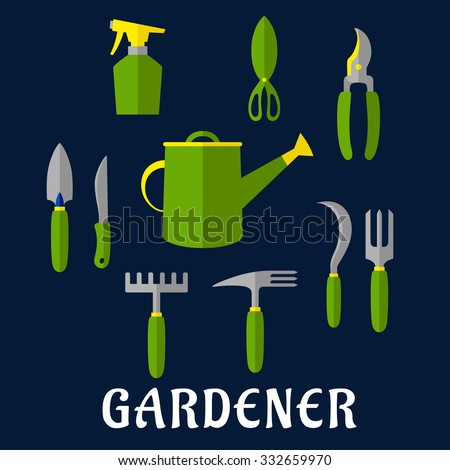 Hand tools icons for gardening design theme with trowel, knife, fork, shears, rake, scissors, spray bottle, weeding hoe, sickle and watering can - stock vector
