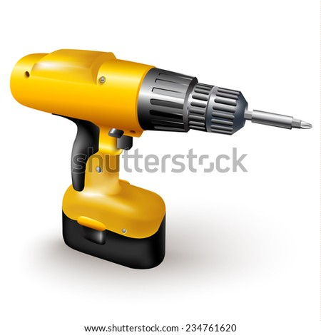 Hand tools series. Electric drill, isolated on a white background. Vector illustration