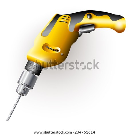 Hand tools series. Electric screwdriver, isolated on a white background. Vector illustration - stock vector