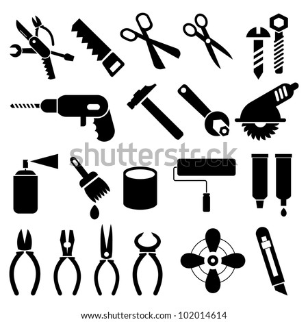 Hand tools - set of vector icons. Isolated black symbols on white background. Work tools signs, pictograms. - stock vector