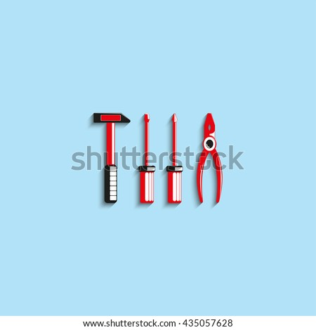 Hand tools. Vector icon. - stock vector