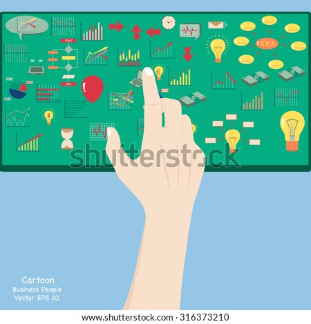 Hand touch Concept with Business icons, technology icons and finance icons, Vector Illustration EPS 10. - stock vector
