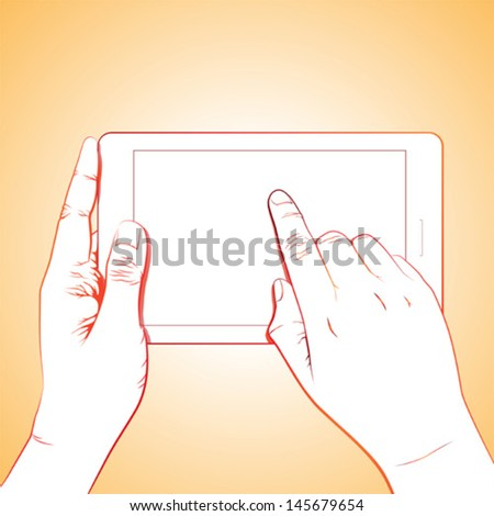 Hand touch gesture, on horizontal 7 inch tablet - stock vector
