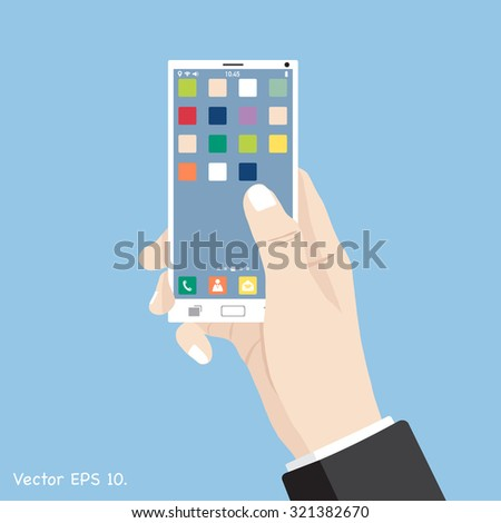 Hand touch mobile phone interface with smart phone, Vector Illustration EPS 10. - stock vector