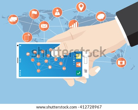 Hand touch on mobile phone network icon for network solution worldwide, Vector Illustration EPS 10.