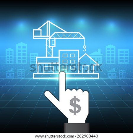 Hand touch property with blue background. - stock vector