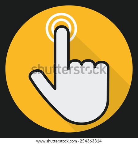 Hand touch vector icon design in flat design. - stock vector