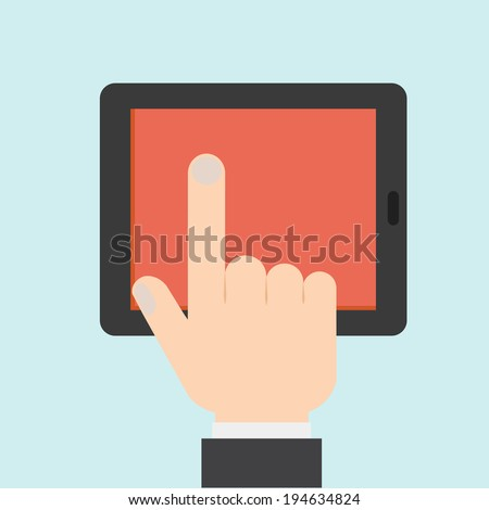 Hand Touching a Tablet - stock vector
