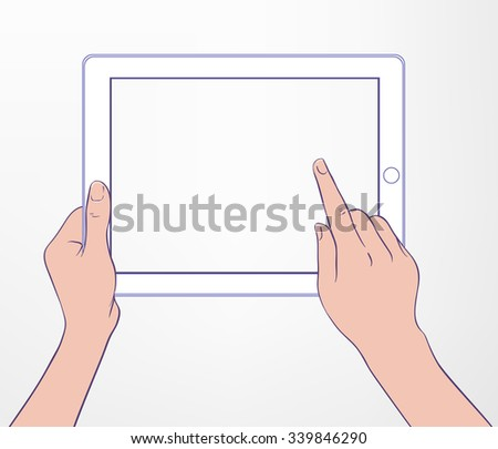 Hand touching blank screen of tablet computer same as ipade. Using digital wireless technology, design concept. Stylish vector illustration isolated on white can be used as a mockup. - stock vector