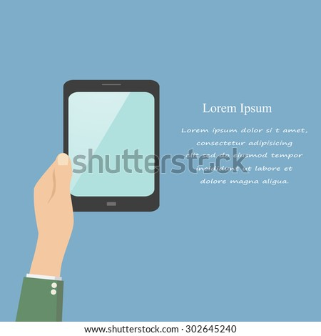 Hand touching blank screen of tablet computer. Using digital tablet pc similar to ipad, flat design concept - stock vector