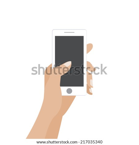 Hand touching blank screen of white smartphone. Using mobile smart phone similar to iphon, flat design concept. Eps 10 vector illustration - stock vector