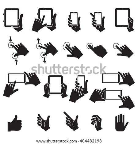 Hand Touching Mobile Phone and Digital Tablet,vector EPS10 - stock vector