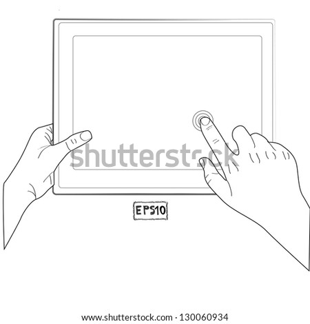 hand touching  screen a tablet sketch vector illustration