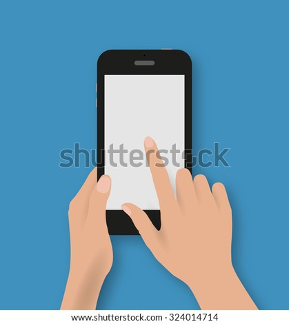 Hand touching screen of black phone at blue backgound with shadows. Vector illustration in flat design. Concept for web design, promotion templates, infographics. vector illustration - stock vector
