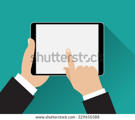 Hand touching screen of black tablet computer on green background with shadows. Vector illustration in flat design. - stock vector