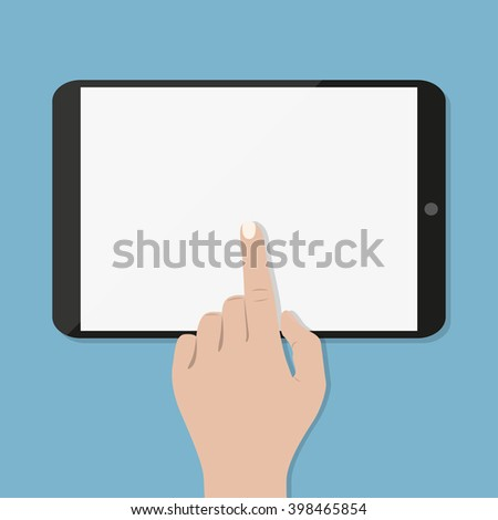 Hand  touching screen of black tablet computer on green blue with shadows. Vector illustration in flat design - stock vector