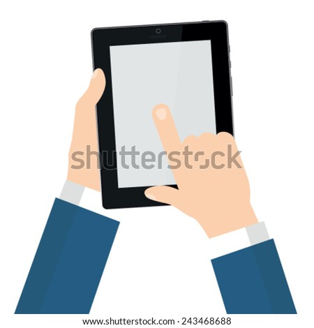 Hand touching screen of tablet computer - stock vector