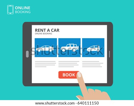 Hand Holding Smartphone Car Icons Rent Stock Vector 640781032