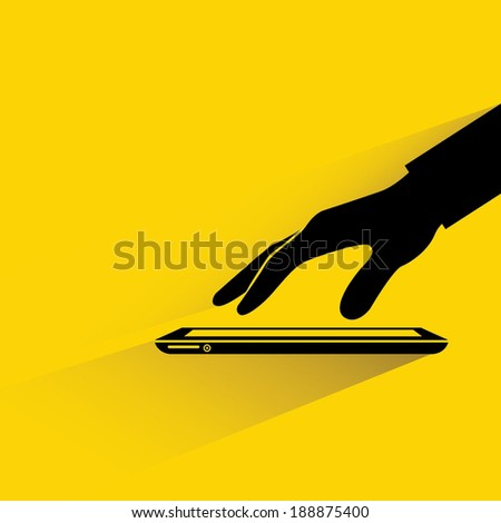 hand touching tablet on yellow background, flat and shadow style - stock vector